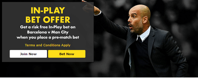 Barcelona v Man City In-Play Bet Offer for the match on 19th October